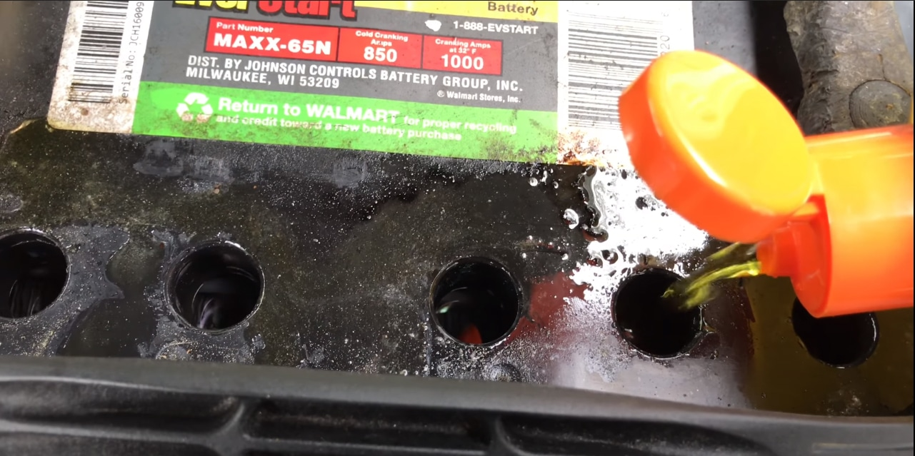 filling  the battery with fluid