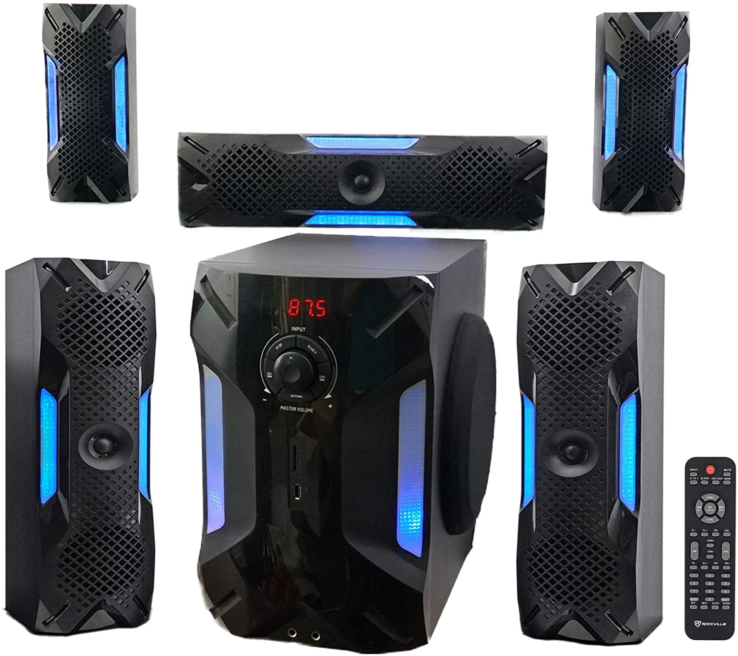 Rockville HTS56 1000w 5.1 Channel Home Theater System - Youthful and Energizing